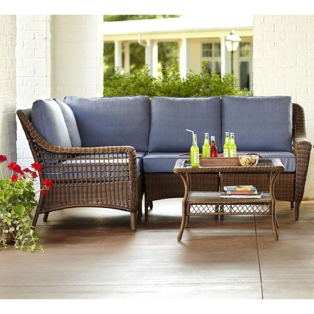 Hampton Bay Spring Haven Brown 5 Piece All Weather Wicker Patio Within Fashionable Patio Furniture Conversation Sets At Home Depot (View 9 of 20)