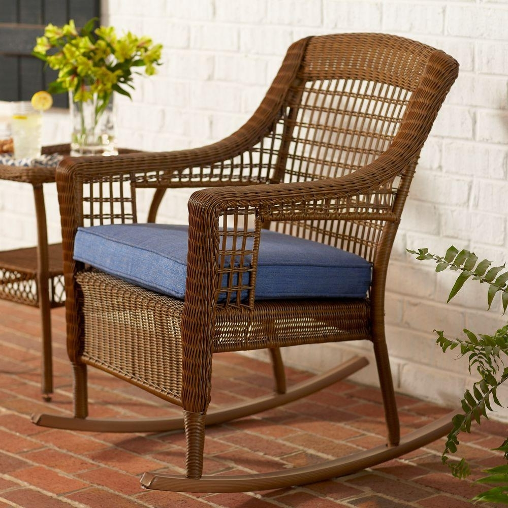 Hampton Bay Spring Haven Brown All Weather Wicker Outdoor Patio Rocking  Chair With Sky Blue Cushion Regarding Current All Weather Patio Rocking Chairs (Gallery 3 of 20)