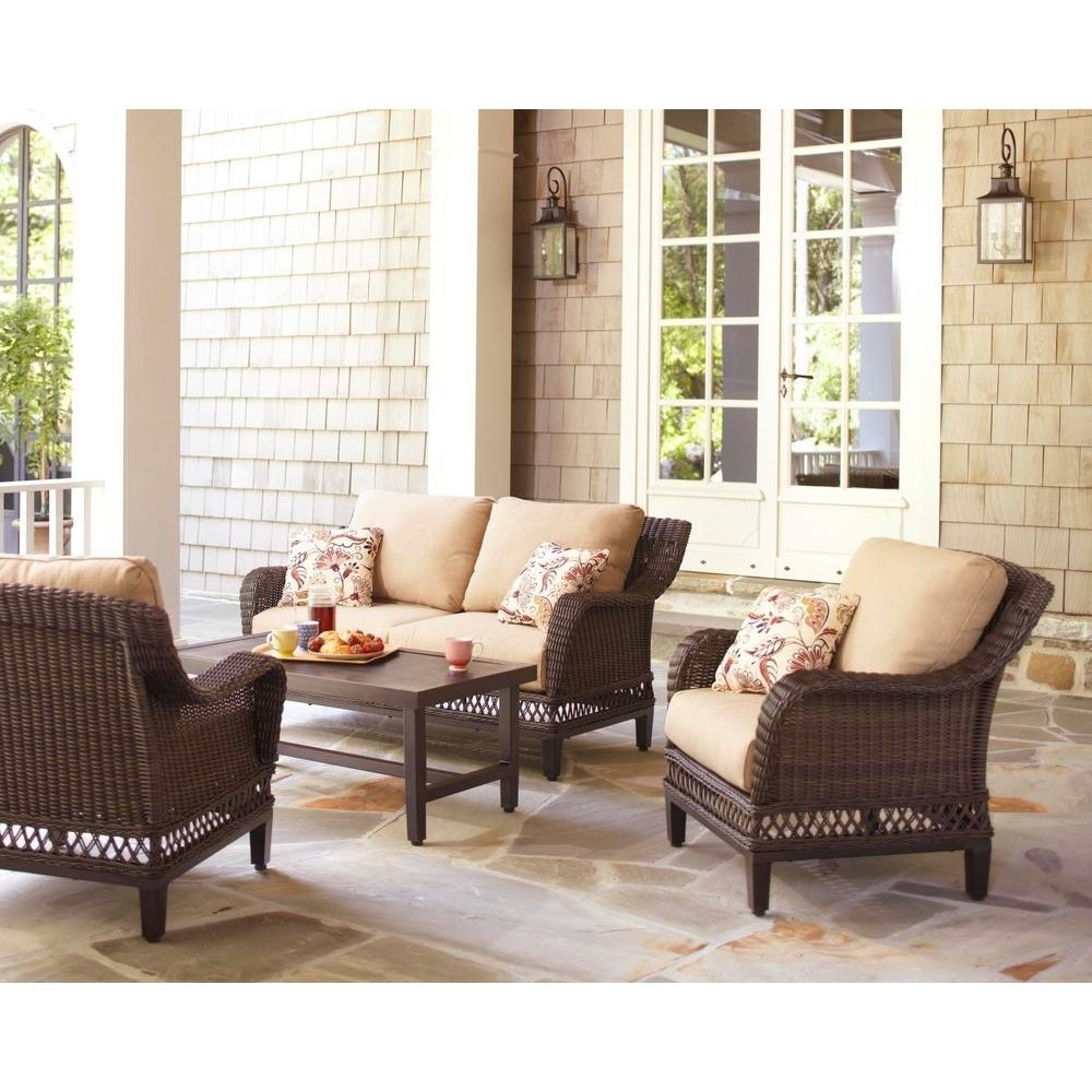 Hampton Bay Woodbury 4 Piece Wicker Outdoor Patio Seating Set With Throughout Most Current Patio Furniture Conversation Sets At Home Depot (Gallery 13 of 20)