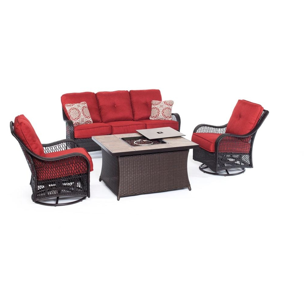 Hanover Fire Pit Sets Outdoor Lounge Furniture The Home Depot Red In Most Recently Released Red Patio Conversation Sets (View 9 of 20)
