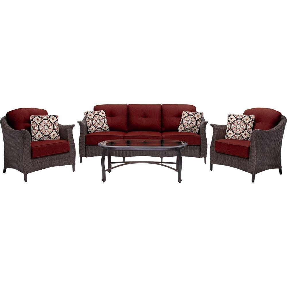 Hanover Gramercy 4 Piece All Weather Wicker Patio Deep Seating Set Intended For Most Popular Red Patio Conversation Sets (View 12 of 20)
