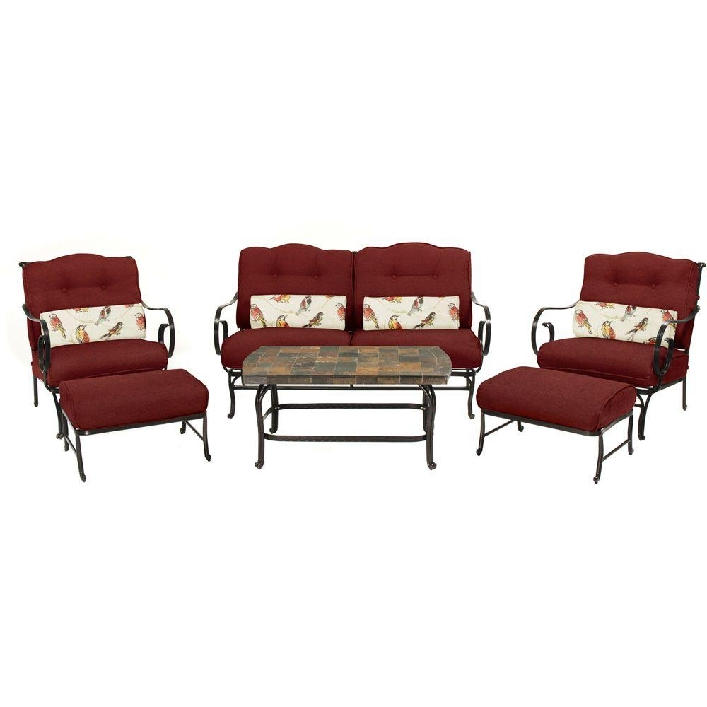 Hanover Oceana 6 Piece Patio Seating Set With A Stone Top Coffee For Favorite Red Patio Conversation Sets (Gallery 15 of 20)