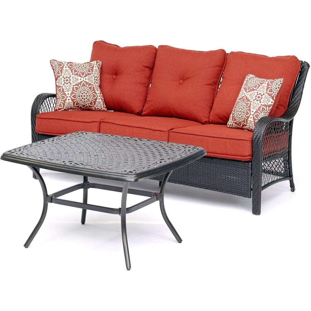 Hanover Orleans 2 Piece Metal Patio Conversation Set With Autumn Regarding Newest Metal Patio Conversation Sets (View 16 of 20)