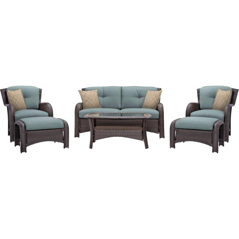 Hanover Strathmere 6 Piece All Weather Wicker Patio Deep Seating Set In Most Popular Patio Conversation Sets With Blue Cushions (View 3 of 20)