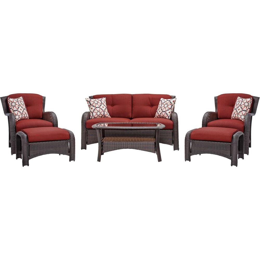 Hanover Strathmere 6 Piece All Weather Wicker Patio Seating Set With With Regard To Favorite Red Patio Conversation Sets (View 4 of 20)