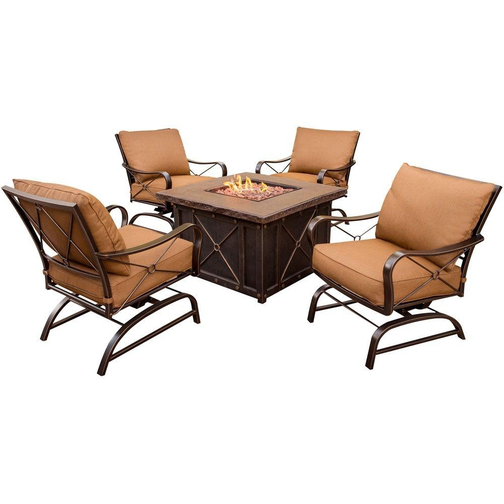 Hanover Summer Nights 5 Piece Patio Fire Pit Set With 4 Cushion Within Favorite Patio Conversation Sets With Rockers (View 6 of 20)