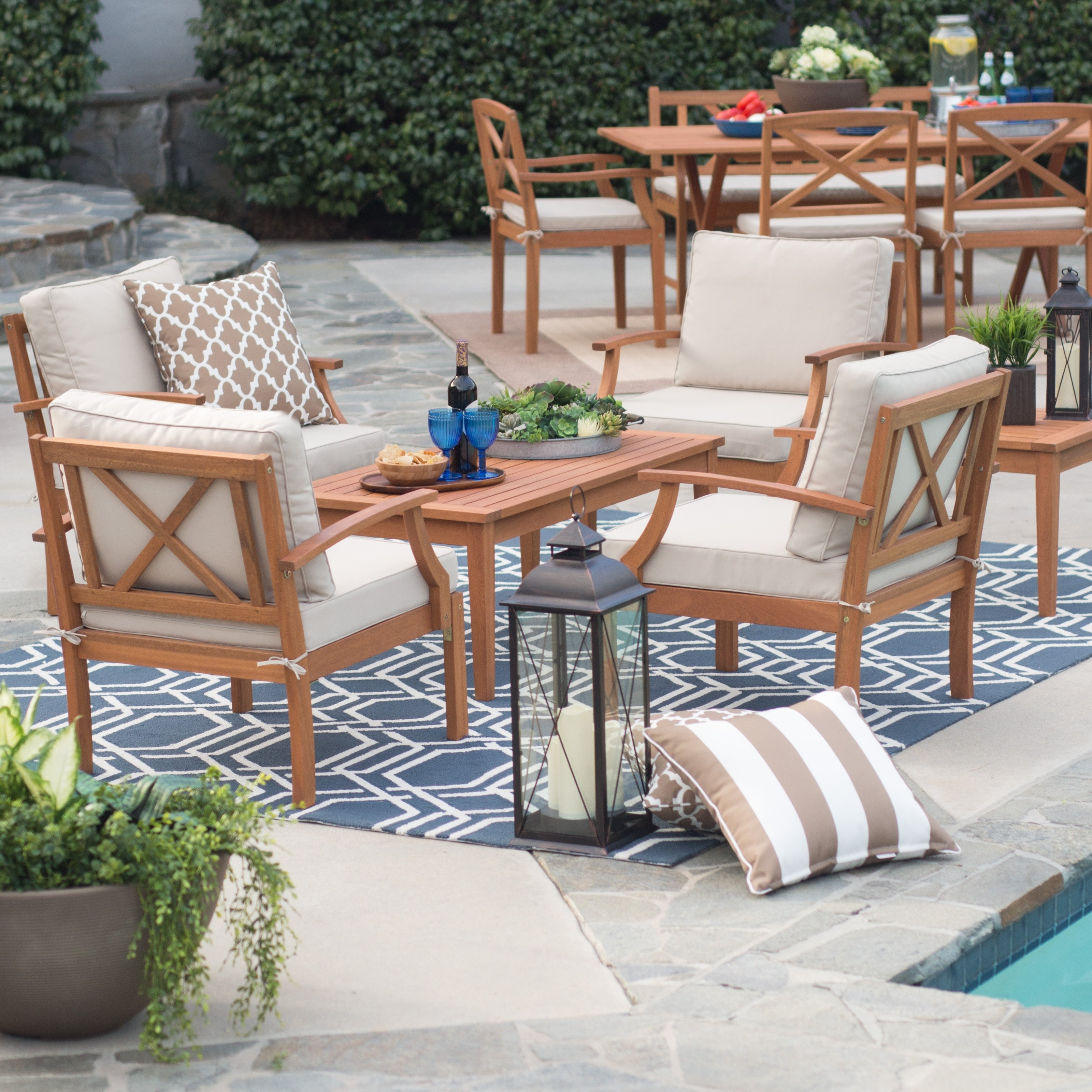 Hayneedle Patio Conversation Sets Regarding Most Up To Date Belham Living Brighton Outdoor Wood Deep Seating Conversation Set (View 10 of 20)