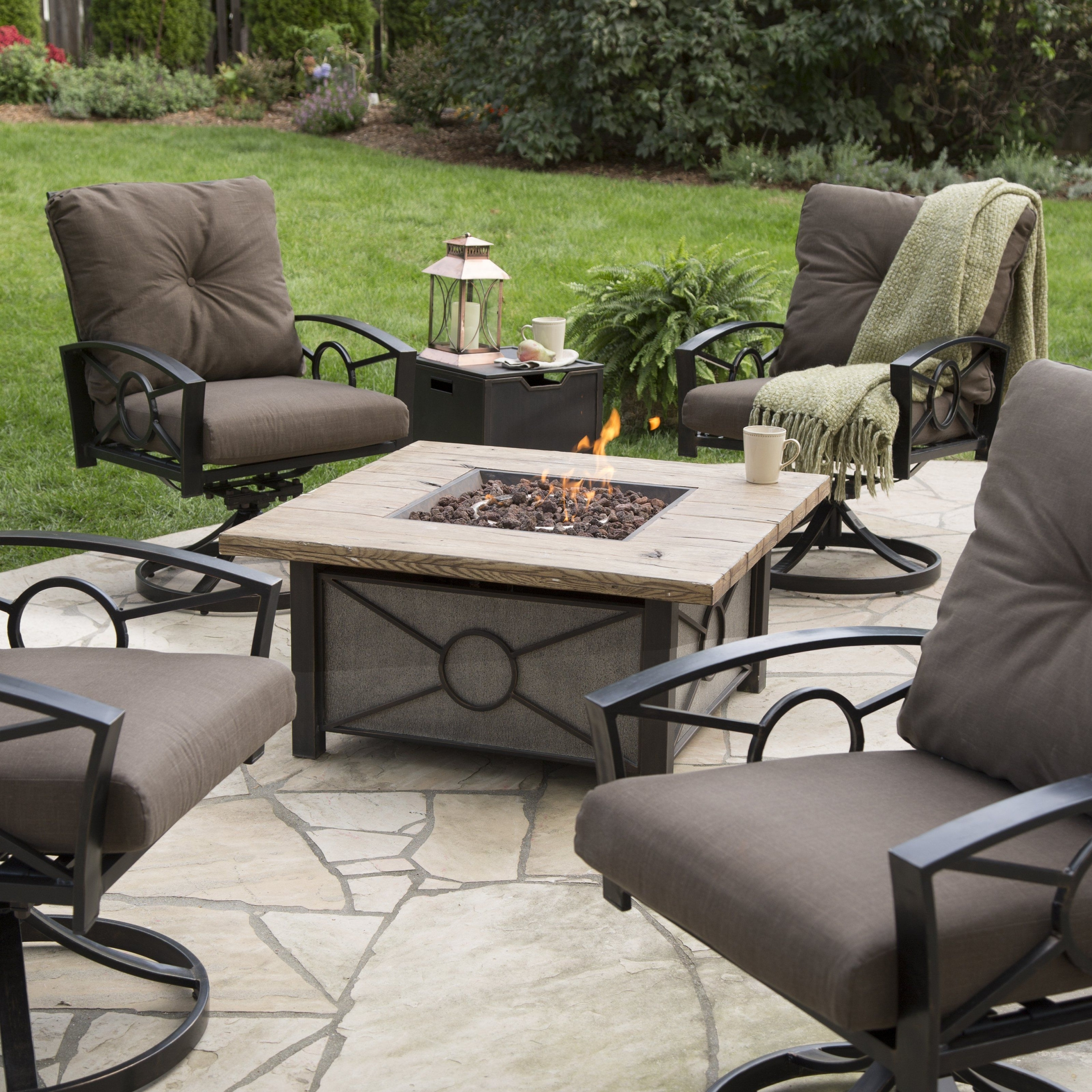 Hayneedle Patio Conversation Sets Throughout Fashionable Valuable Gas Fire Pit Conversation Set Red Ember Dillon Table Chat (View 10 of 20)