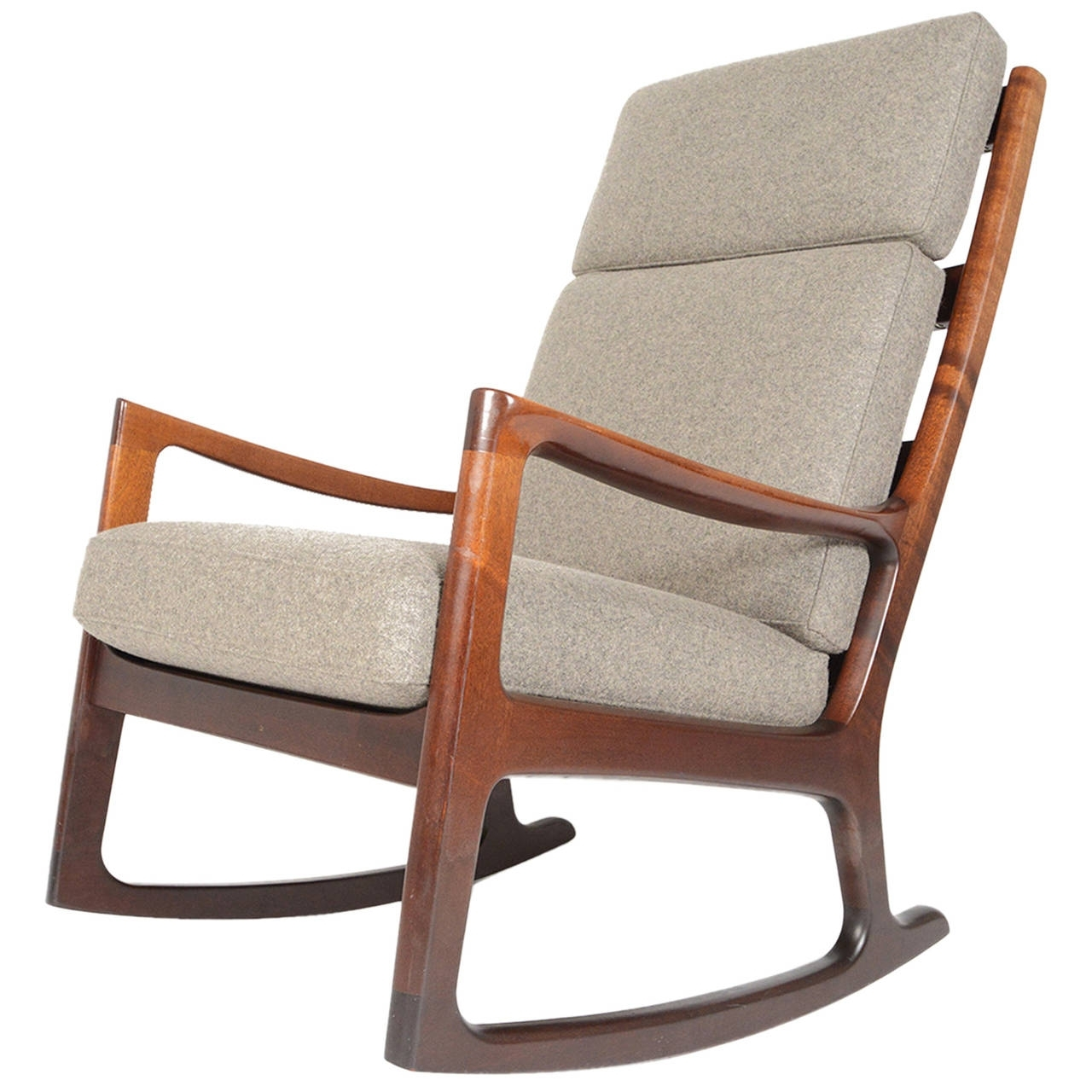 High Back Rocking Chairs Inside Best And Newest Ole Wanscher Mahogany Highback Rocking Chair At 1Stdibs (Gallery 1 of 20)