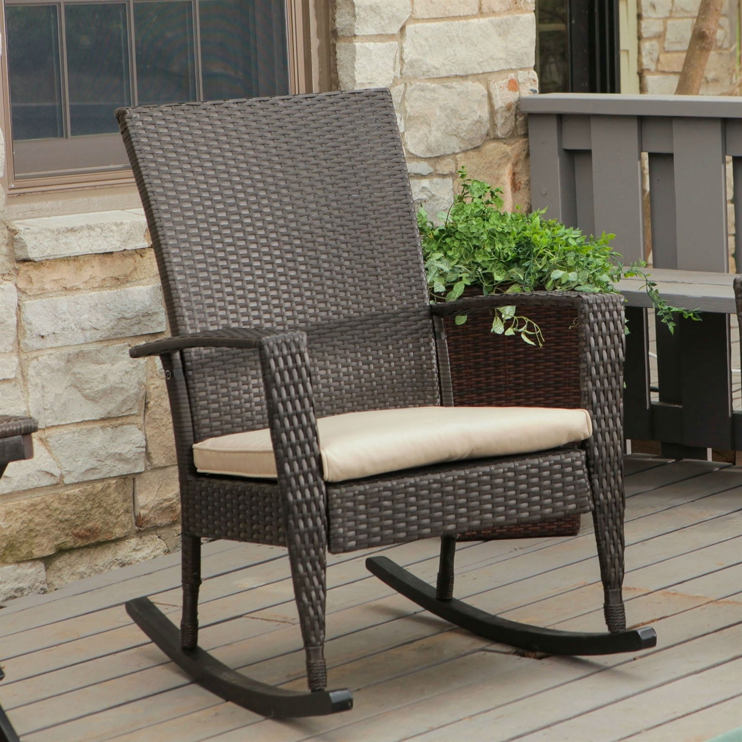 Indoor Wicker Rocking Chairs Within Favorite Indoor/outdoor Patio Porch Dark Brown High Back Wicker Rocking Chair (View 15 of 20)
