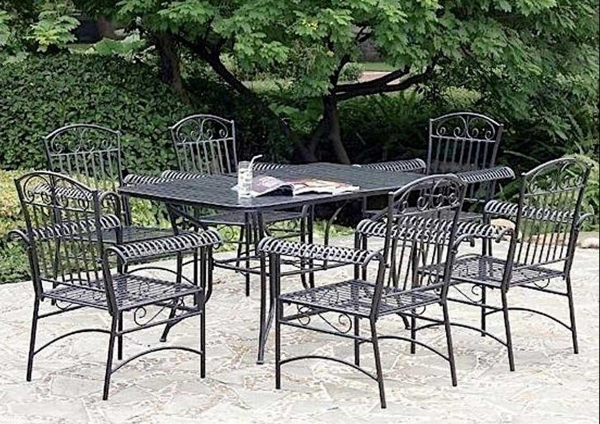 Iron Patio Conversation Sets Regarding Popular Outstanding Patio Furniture Metal 12 Lawn Garden Fascinating Vintage (View 5 of 20)