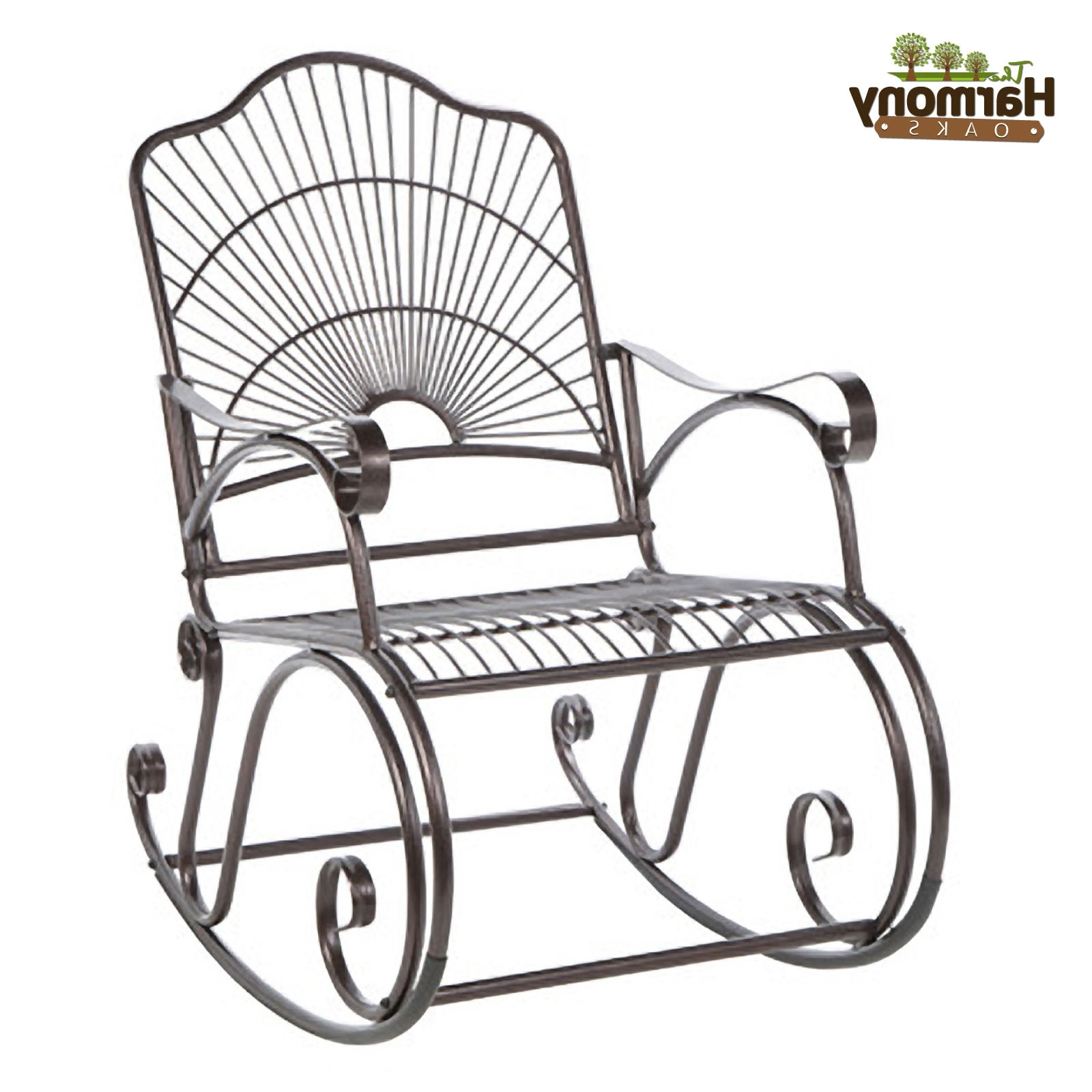 Iron Rocking Patio Chairs Throughout Widely Used Rocker Wrought Iron Outdoor Patio Porch New Furniture Wrought Iron (View 7 of 20)