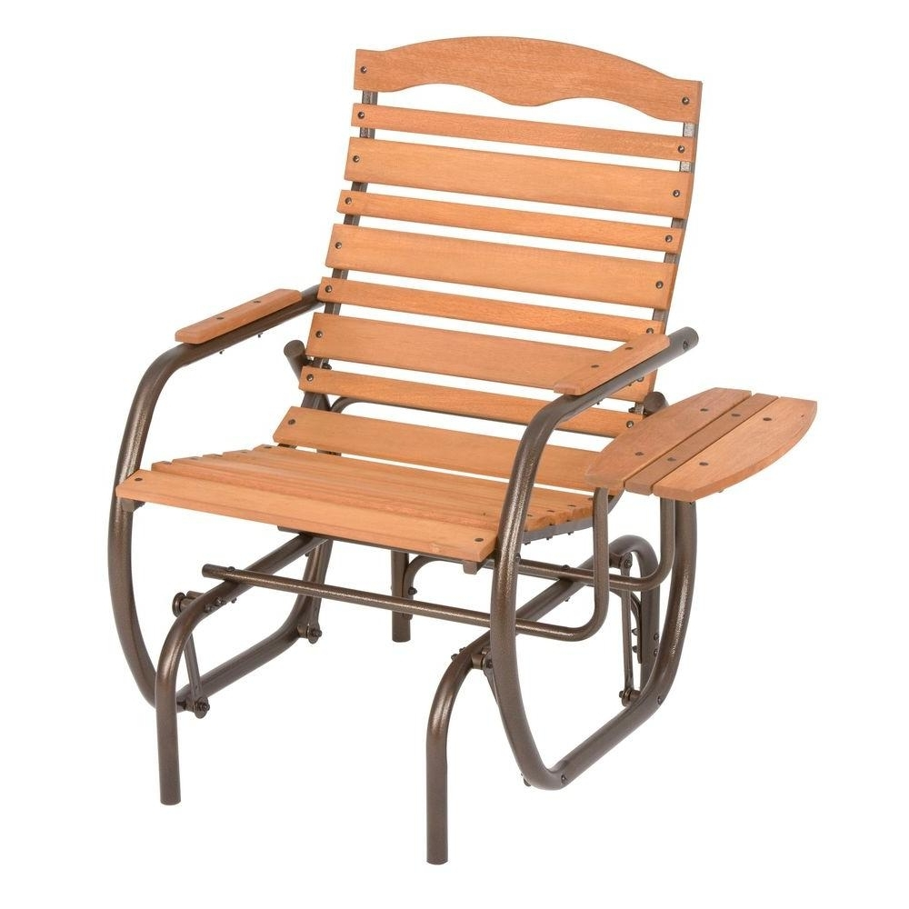 Jack Post Country Garden Natural Patio Glider Chair With Trays Cg Intended For Most Popular Rocking Chairs For Patio (View 12 of 20)