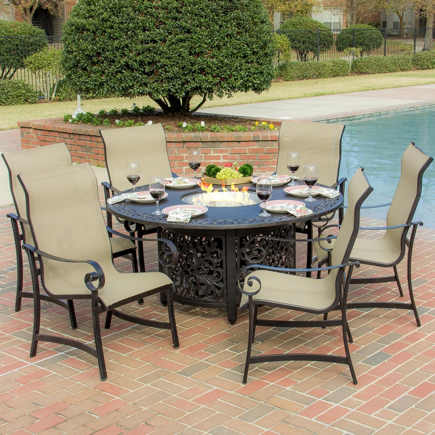 La Salle 7 Piece Sling Patio Dining Set With Fire Pit Table With Regard To Preferred Sling Patio Conversation Sets (View 4 of 20)