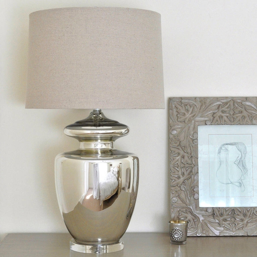 Large Silver Urn Table Lamp And Linen Shadeprimrose & Plum With Regard To Most Up To Date Large Living Room Table Lamps (View 13 of 20)