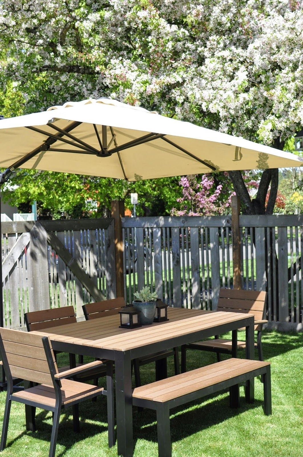 Large Umbrella, Bench And Inside Famous Ikea Patio Conversation Sets (View 11 of 20)