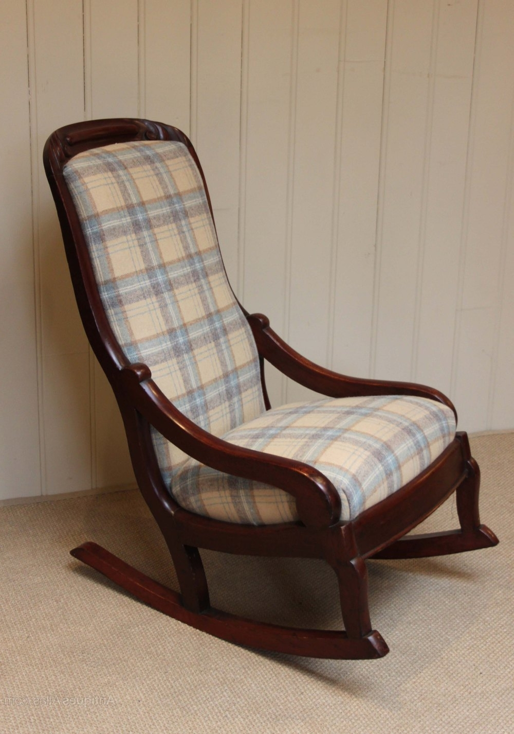 Late Victorian Upholstered Rocking Chair – Antiques Atlas Within Most Popular Upholstered Rocking Chairs (View 6 of 20)