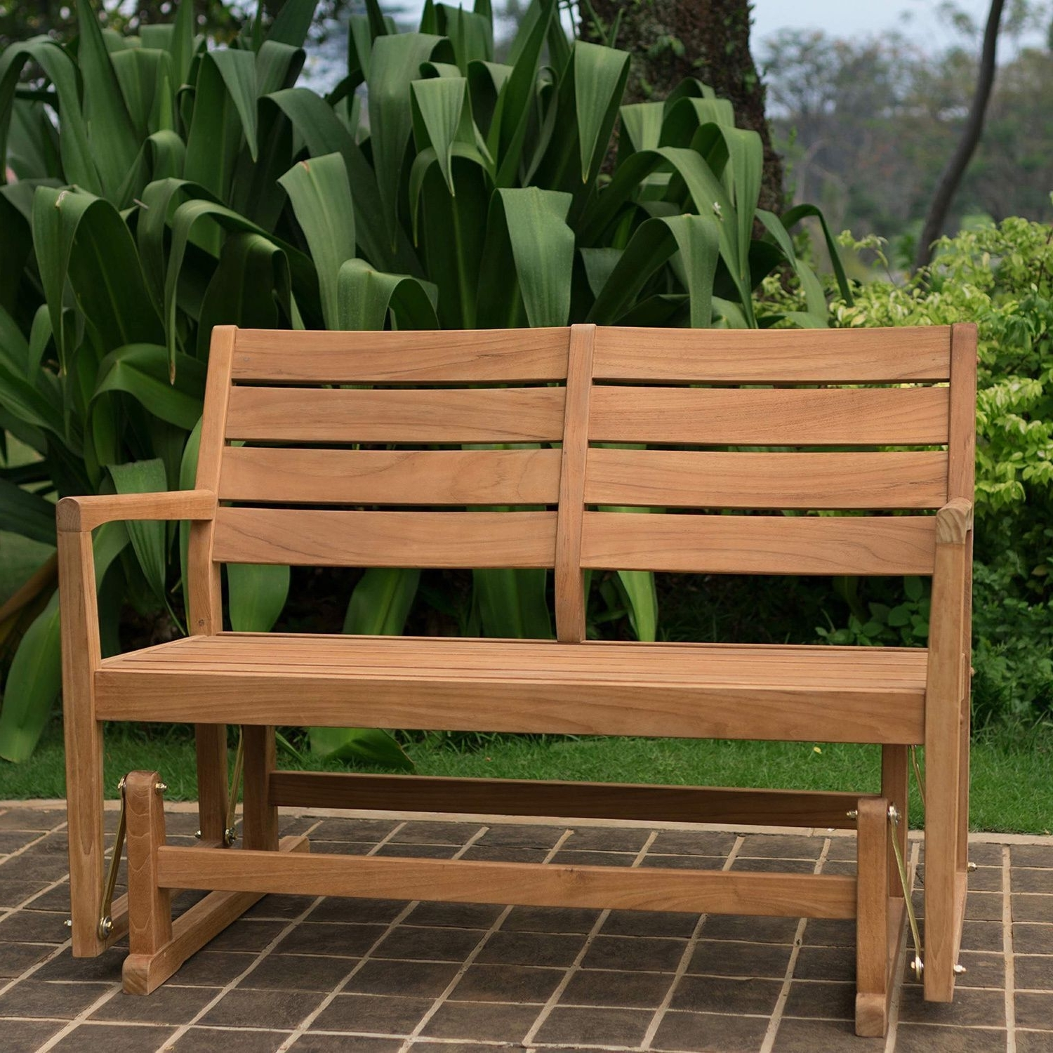 Latest Cambridge Casual Andrea Teak Glider Bench (23.75 L X 35 W X  (View 7 of 20)