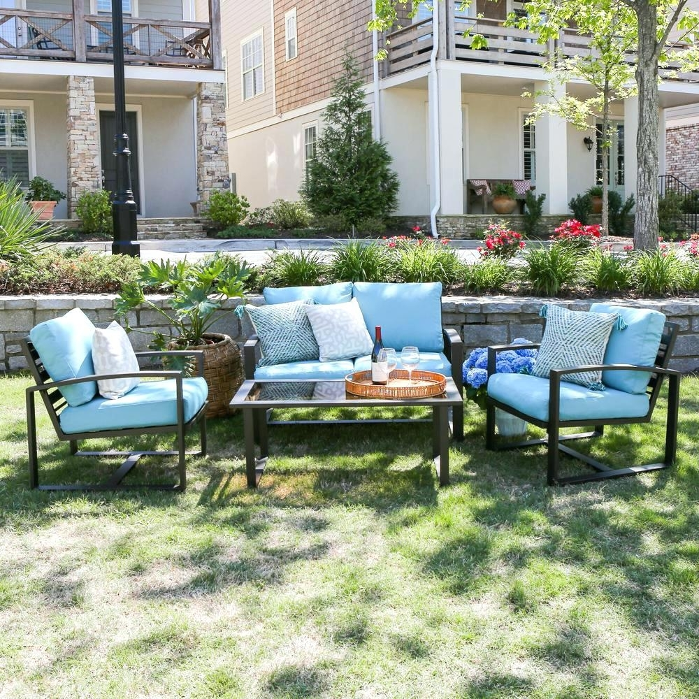 Latest Patio Conversation Sets With Blue Cushions Within Patio Ideas ~ Blue Patio Set Patio Small Patio Furniture Sets (View 6 of 20)
