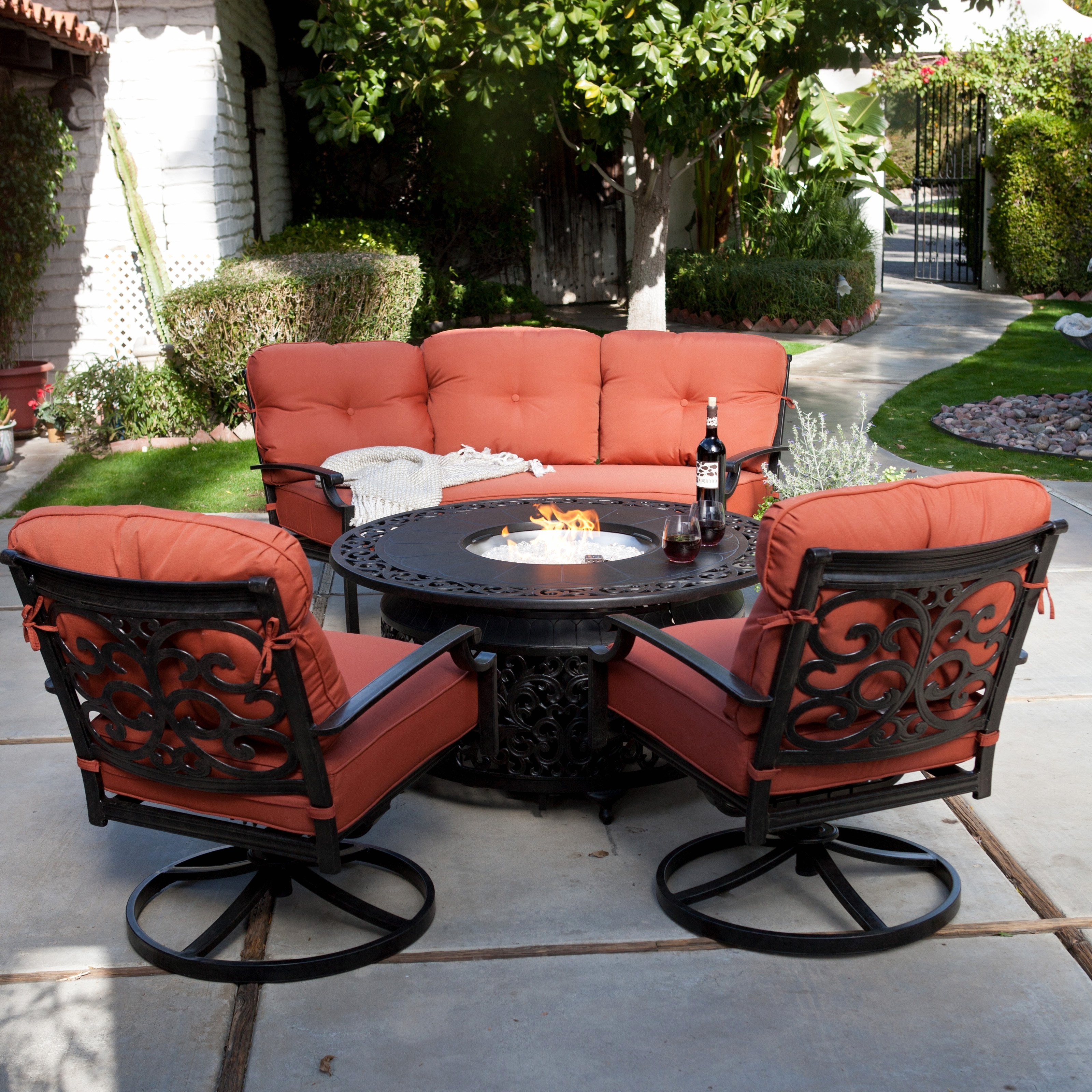 Latest Patio Conversation Sets With Fire Pit In 30 Amazing Propane Fire Pit Set Design (View 4 of 20)