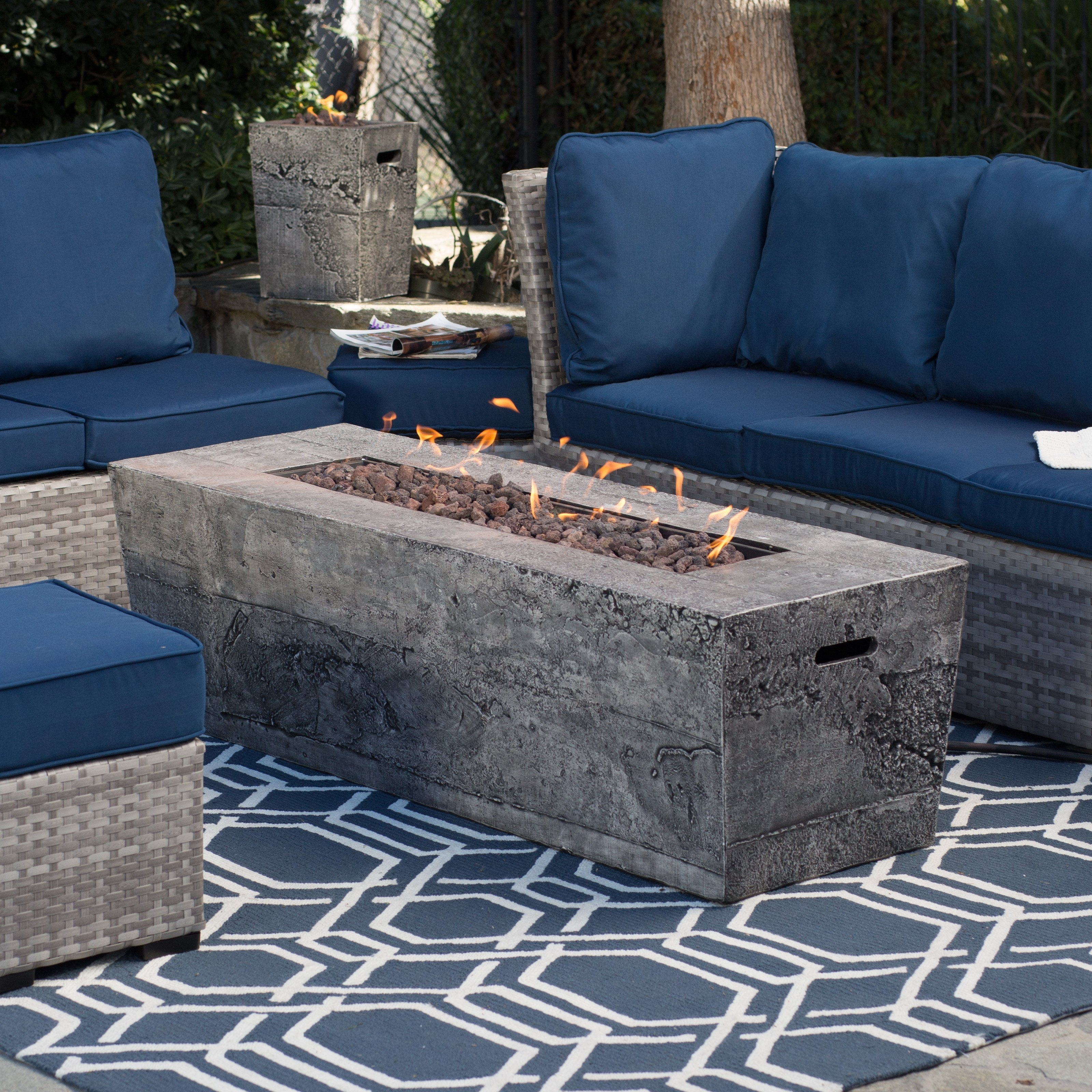 Latest Patio Conversation Sets With Gas Fire Pit Regarding Lovely Outdoor Patio Set With Gas Fire Pit Red Ember Glacier Stone (View 8 of 20)