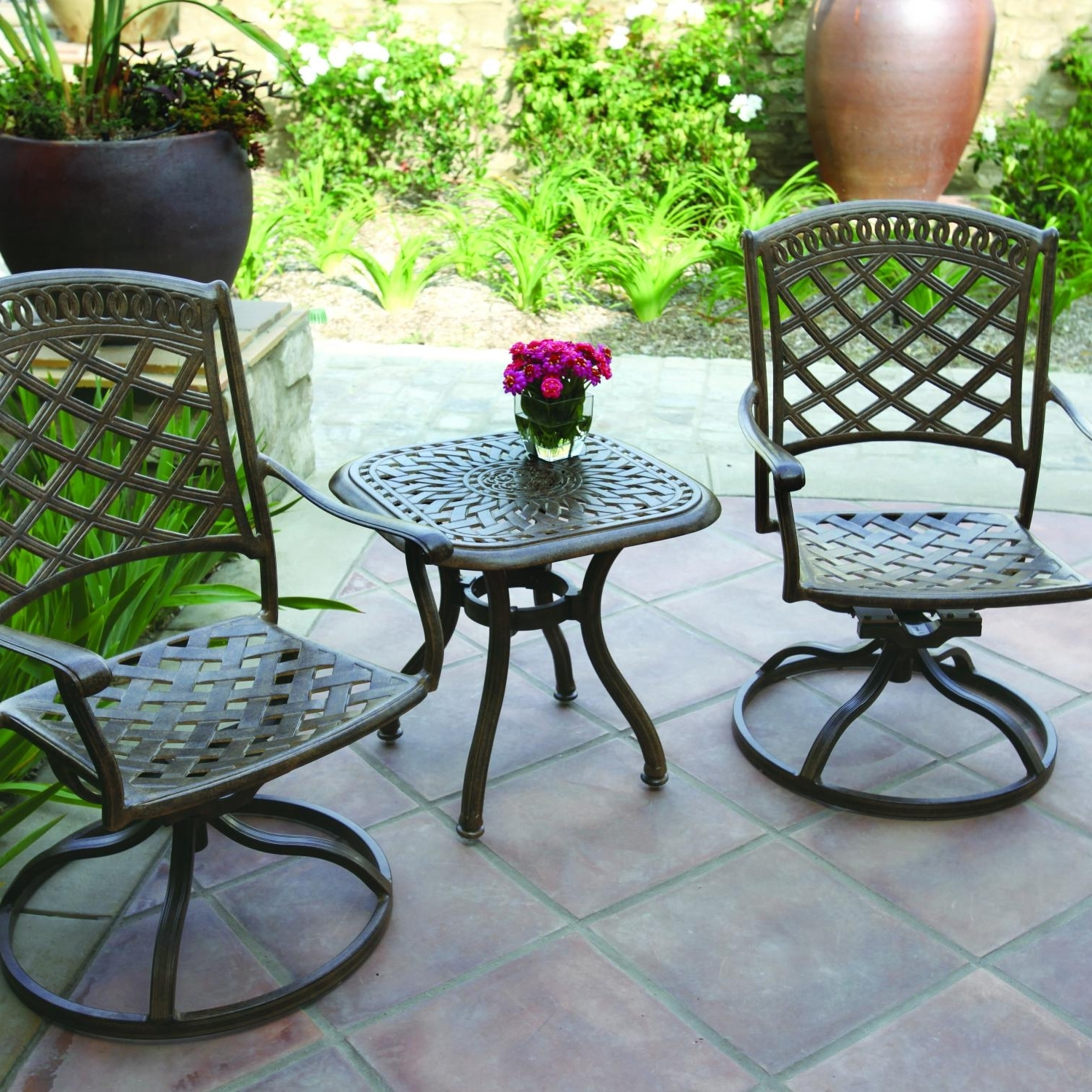 Latest Patio Conversation Sets With Swivel Chairs Pertaining To Darlee Sedona 3 Piece Patio Bistro Set – The Outdoor Store (View 20 of 20)