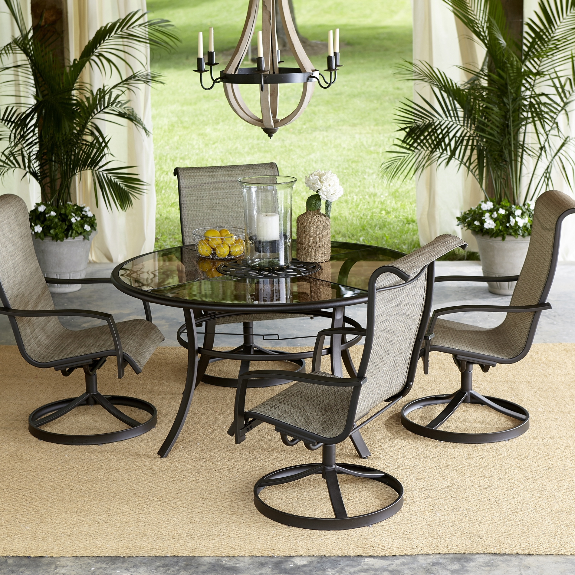 Latest Patio Dining Sets Round Table Furniture Alluring Beautiful Tables Intended For Patio Conversation Dining Sets (View 9 of 20)