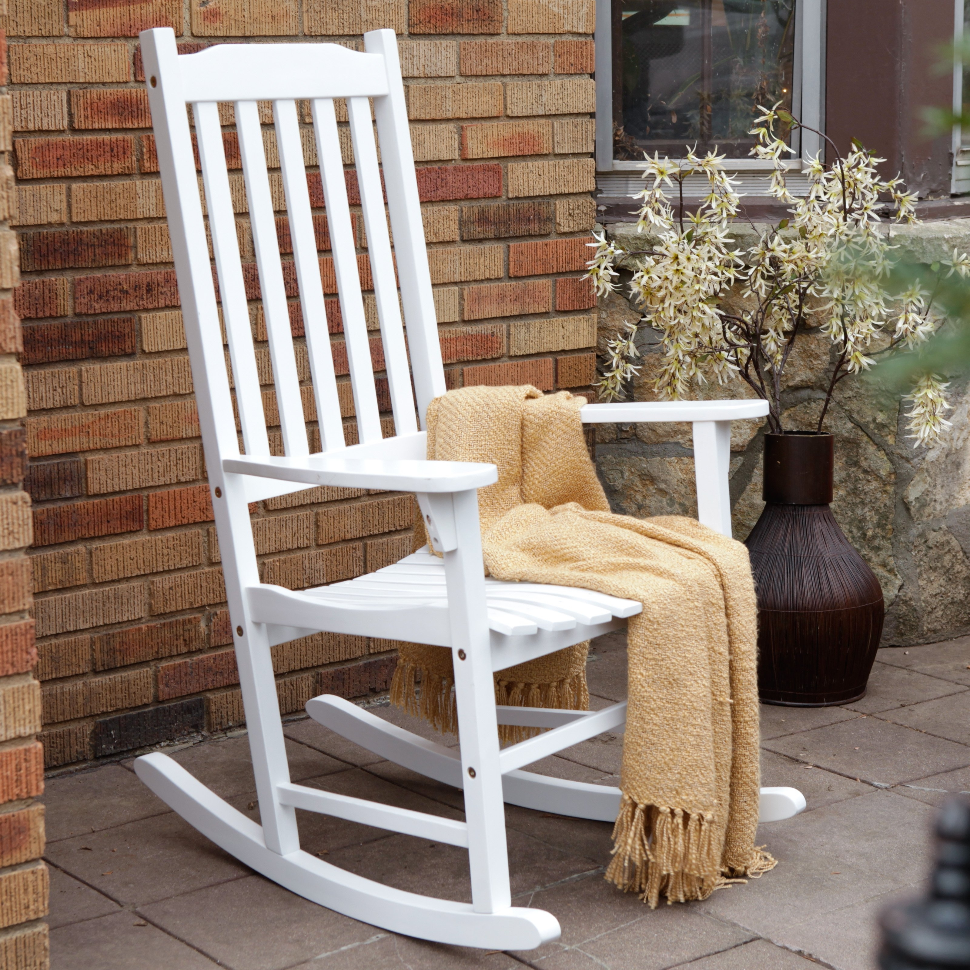 Latest Patio Rocking Chairs And Gliders Pertaining To Coral Coast Indoor/outdoor Mission Slat Rocking Chair – White (View 5 of 20)