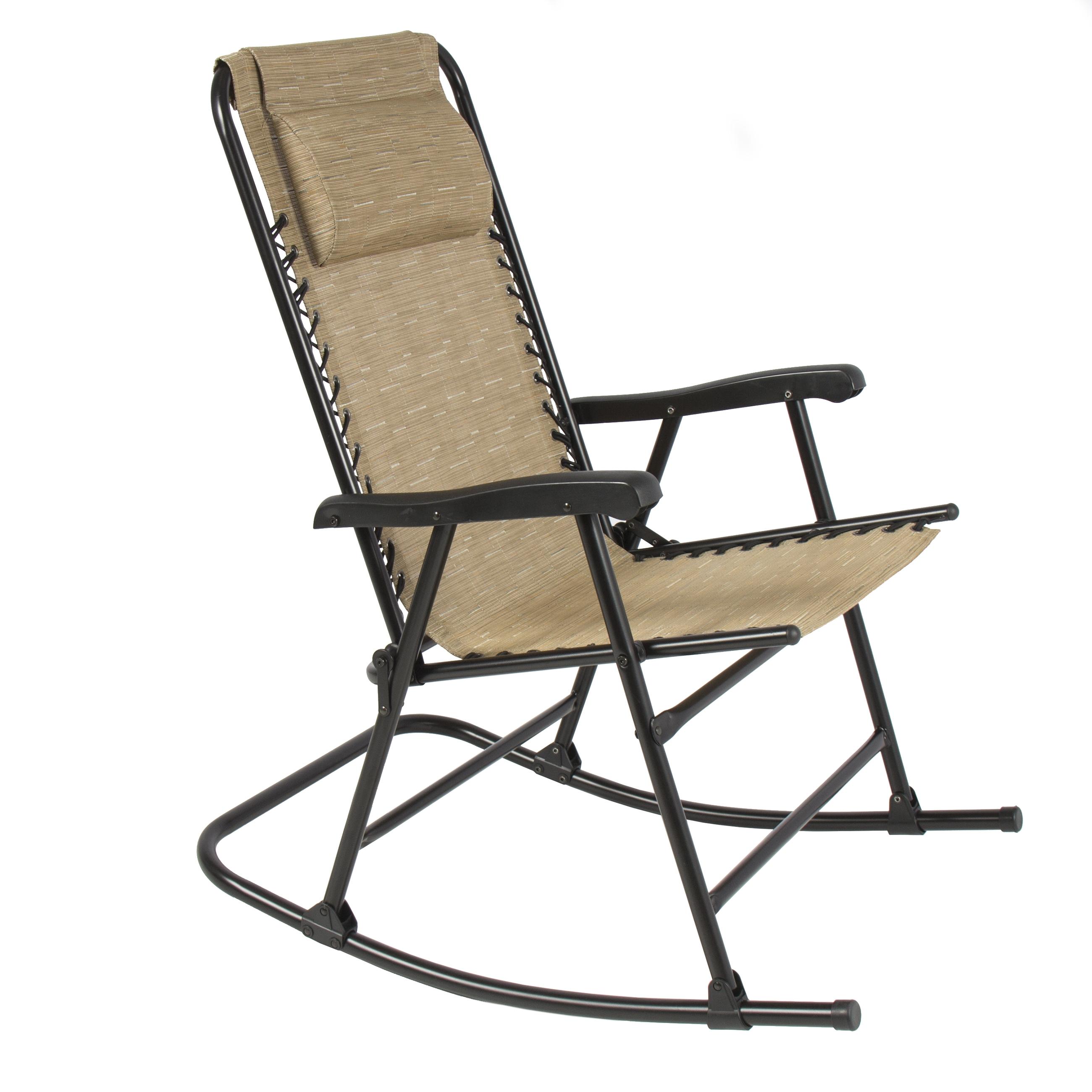 Latest Rocking Chairs At Walmart Regarding Folding Rocking Chair Foldable Rocker Outdoor Patio Furniture Beige (View 4 of 20)