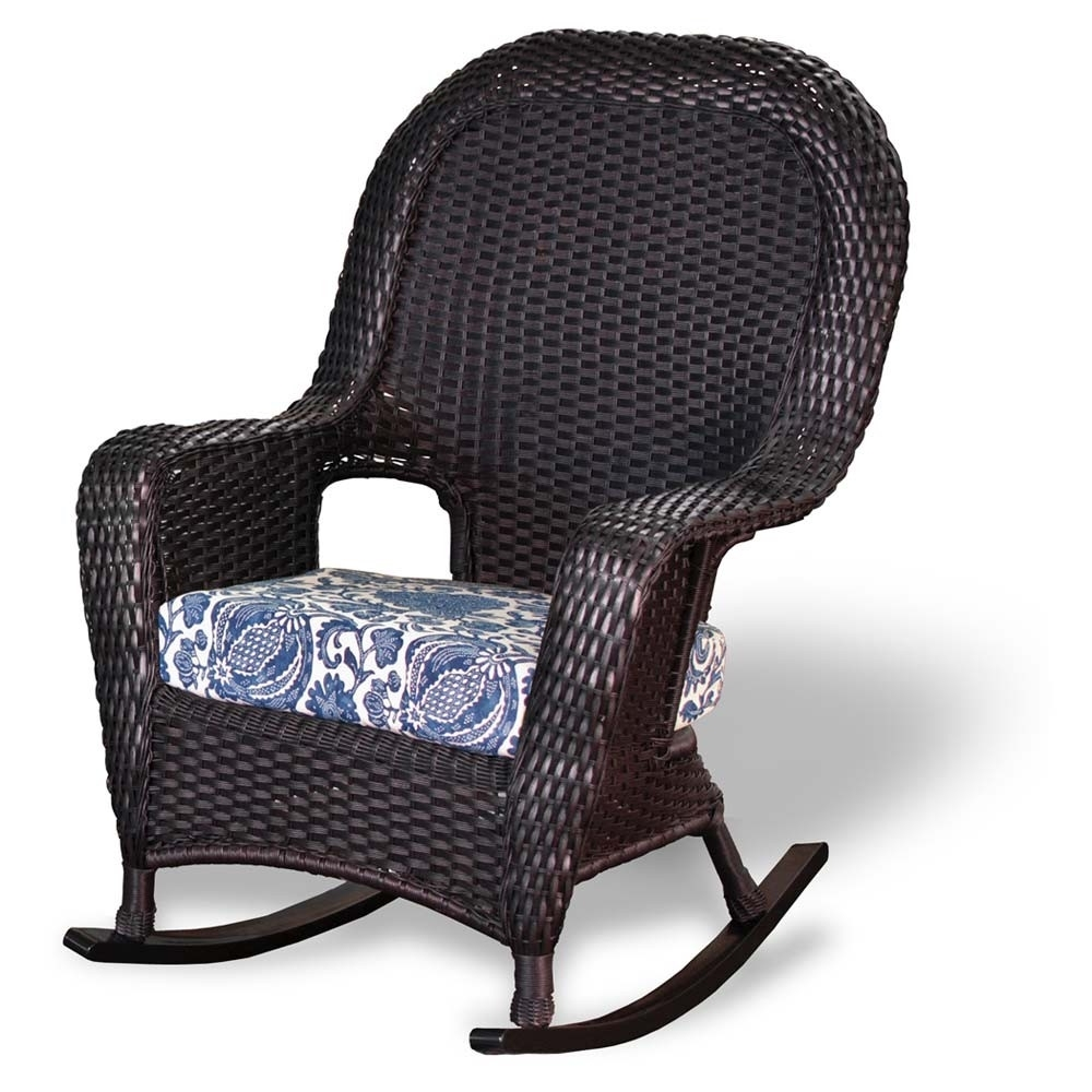 Latest Wicker Rocking Chairs And Ottoman With Regard To Tortuga Outdoor Lexington Wicker Rocker – Wicker (View 7 of 20)
