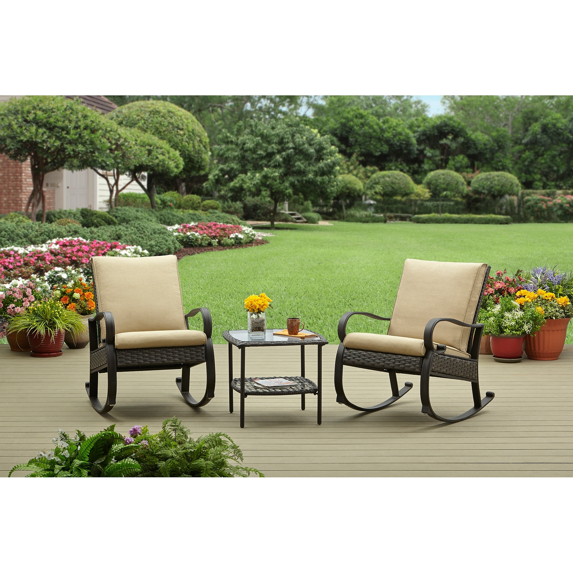 Latest Wicker Rocking Chairs Sets With Outdoor Rocking Chair Bistro Set – Outdoor Designs (View 5 of 20)