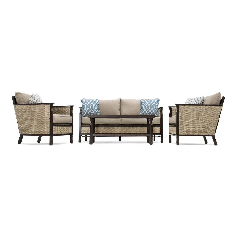 Lazy Boy Patio Conversation Sets In 2019 La Z Boy Colton 4 Piece Wicker Outdoor Seating Set With Sunbrella (View 13 of 20)