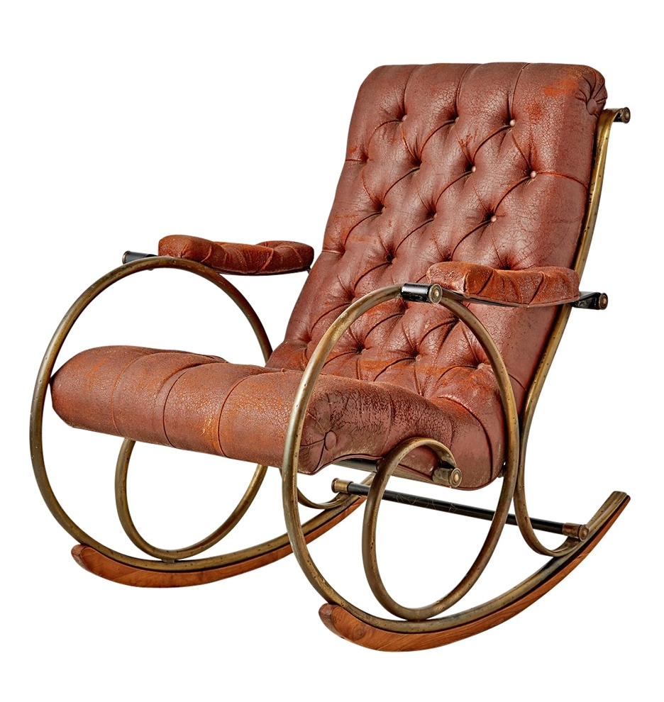 Lee Woodard Rocking Chair W/ Weathered Upholstery (View 4 of 20)