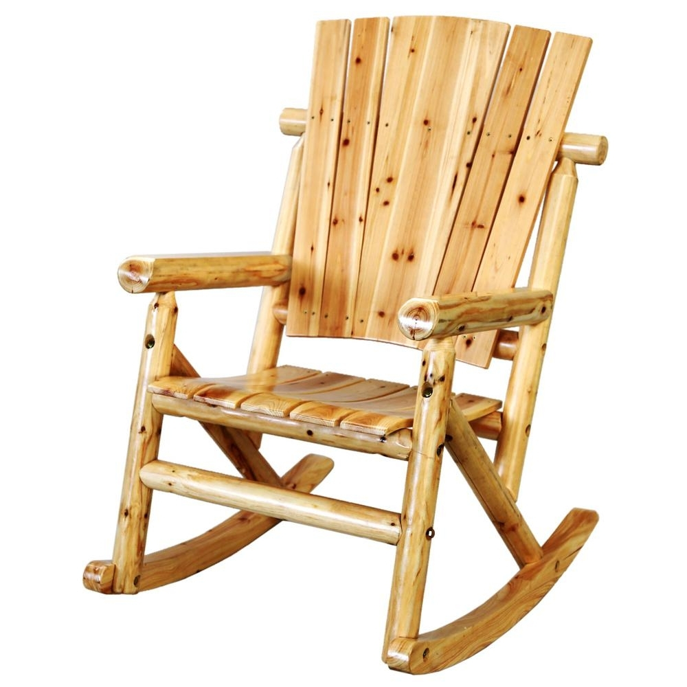 Leigh Country Aspen Wood Outdoor Rocking Chair Tx 95100 – The Home Depot Intended For Famous Rocking Chair Outdoor Wooden (View 8 of 20)