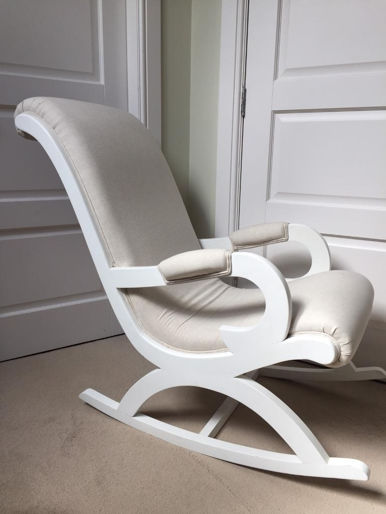 Linen Fabric White Wooden Rocking Chair Chic Shack London Nursing Intended For Favorite Rocking Chairs For Nursing (View 7 of 20)