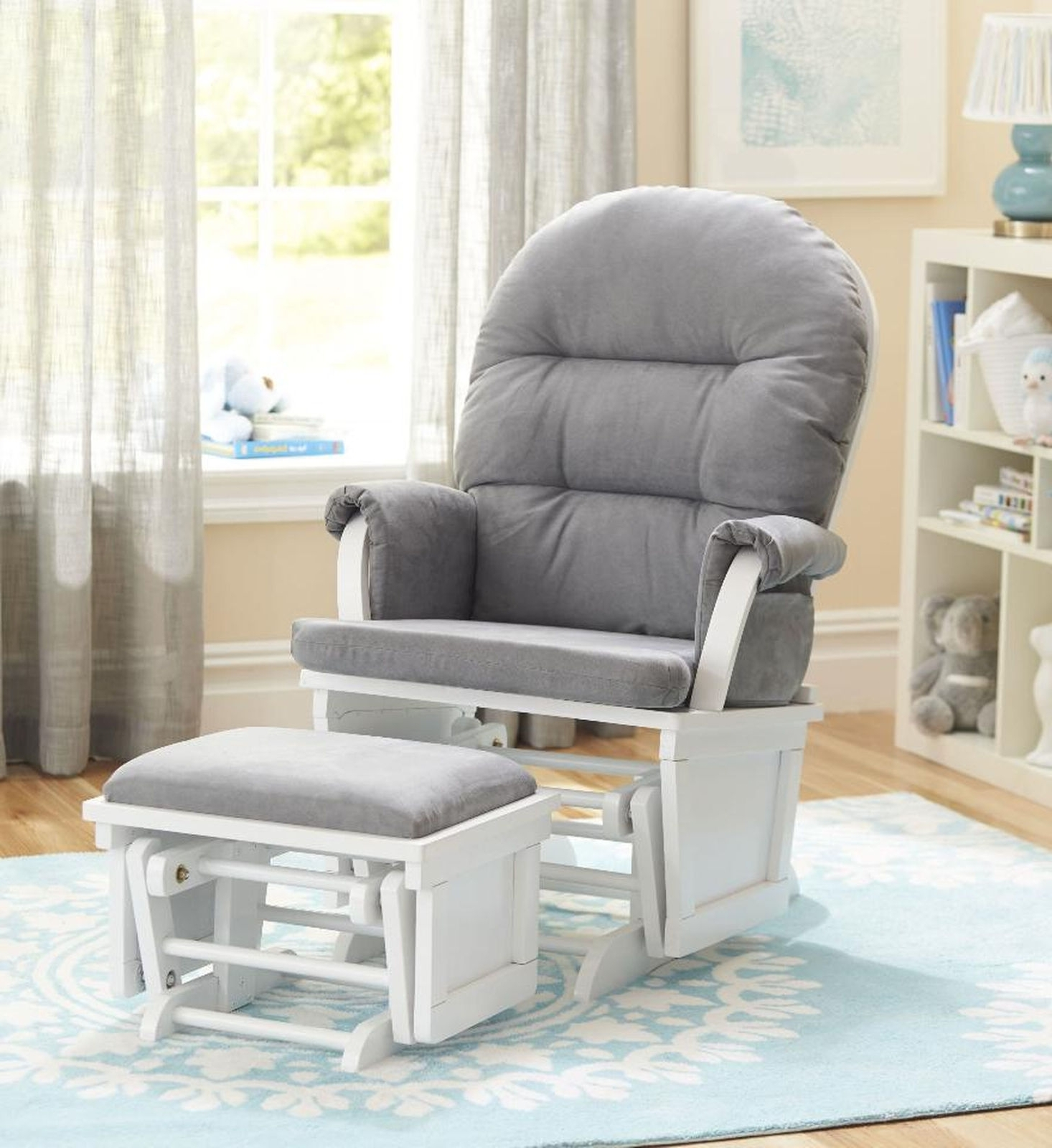 Living Room Furniture : Shermag Aiden Glider Ottoman Set White With Inside Widely Used Rocking Chairs For Nursery (View 7 of 20)