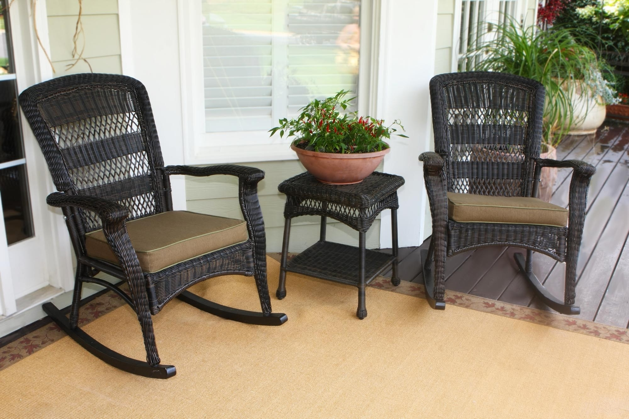 Livingroom : All Weather Patio Rocking Chairs Chair Sets Wicker Best Inside Famous Brown Wicker Patio Rocking Chairs (View 7 of 20)