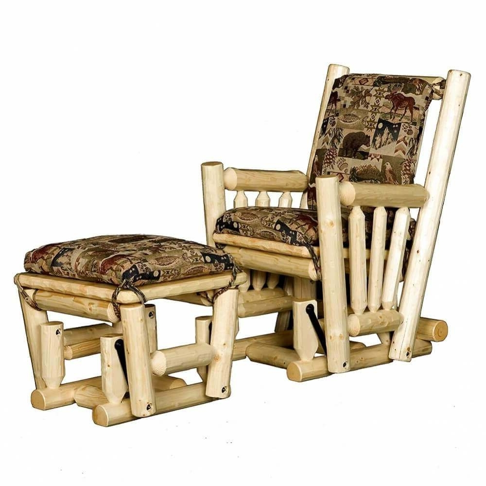 Log Glider Rocking Chair And Ottoman: Cabin Place Regarding Current Rocking Chairs With Ottoman (View 7 of 20)