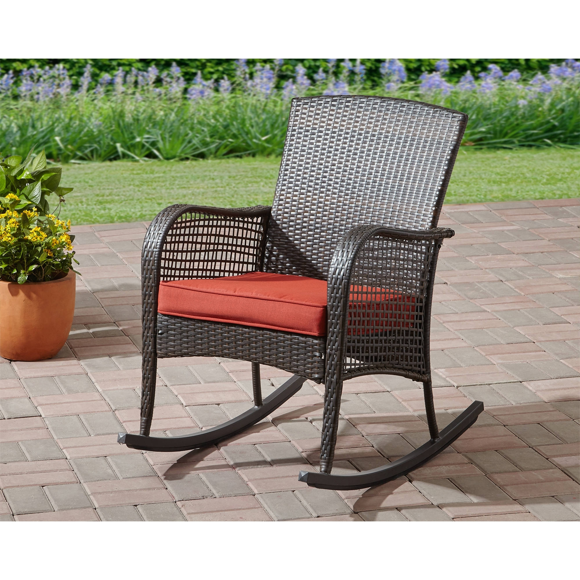 Mainstays Cambridge Park Wicker Outdoor Rocking Chair – Walmart Intended For Best And Newest Inexpensive Patio Rocking Chairs (View 8 of 20)