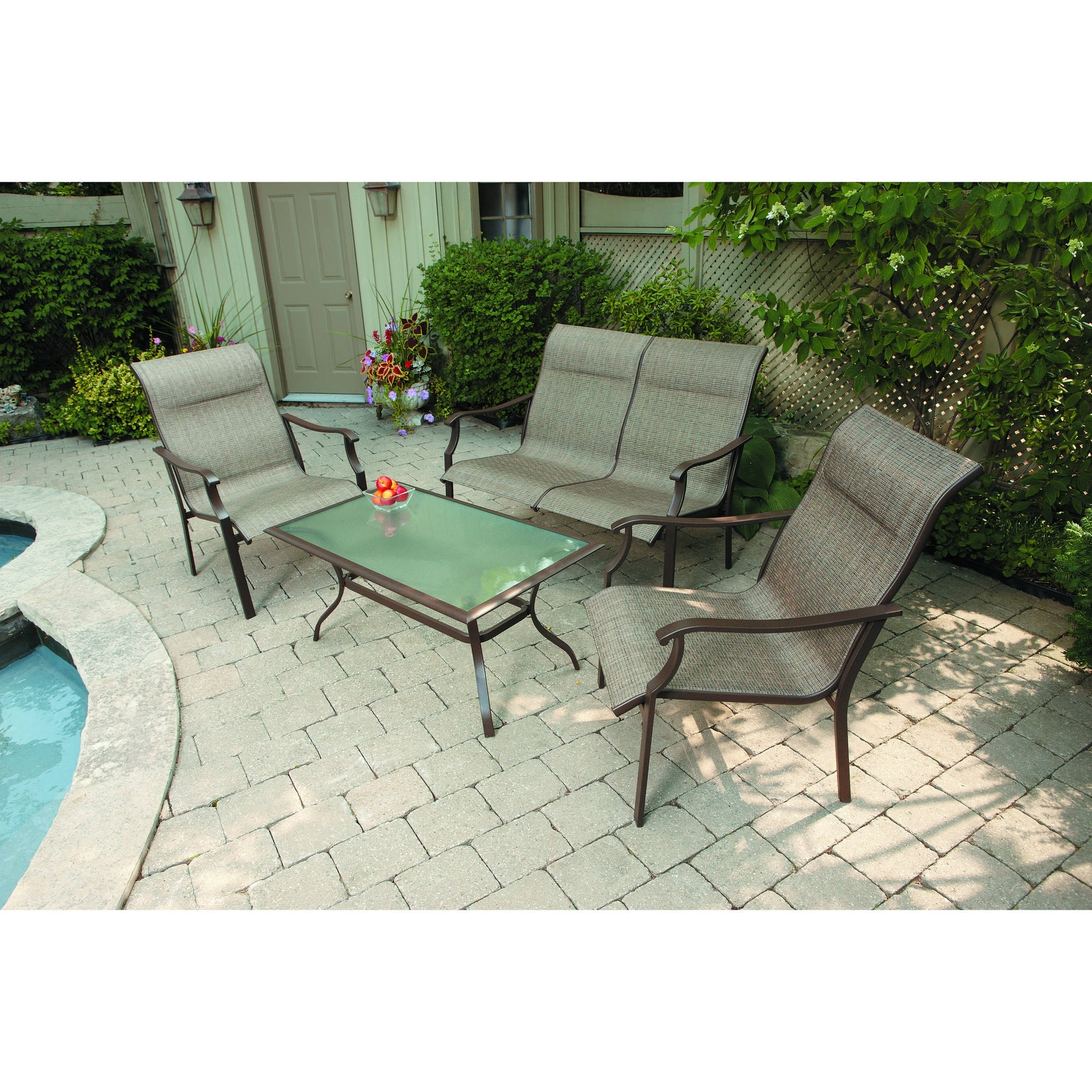 Mainstays York 4pc Sling Sofa Set – Walmart Throughout Most Recent Sling Patio Conversation Sets (View 6 of 20)