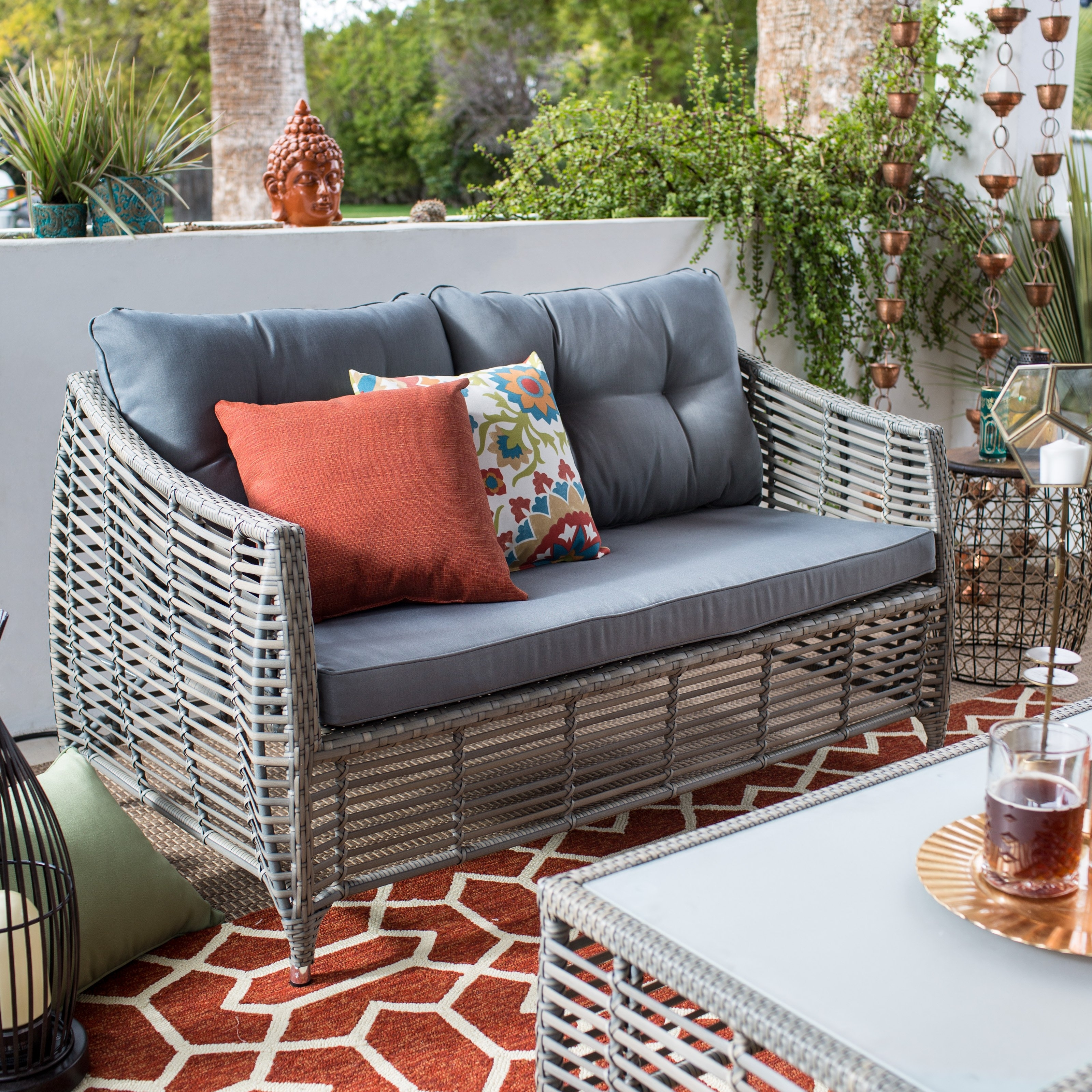 Mainstream Belham Outdoor Furniture Living Silba 7 Piece Envirostone In Famous Patio Conversation Set With Storage (View 18 of 20)