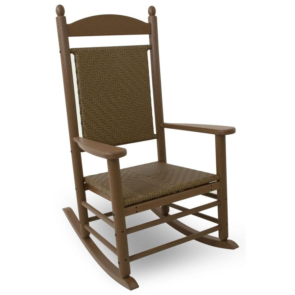 Manhattan Patio Grey Rocking Chairs Throughout 2018 Polywood Jefferson Teak Woven All Weather Plastic Outdoor Rocker (View 7 of 20)