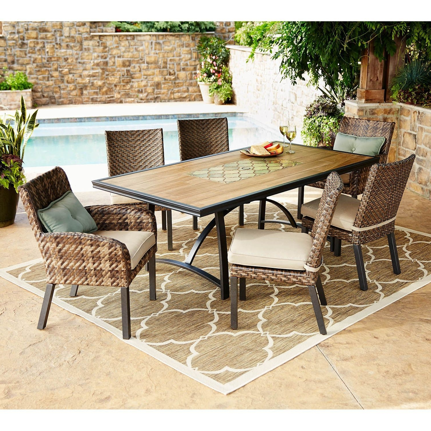 Member's Mark Essex 7 Piece Dining Set With Premium Sunbrella Fabric Within Most Popular Patio Conversation Sets At Sam's Club (View 6 of 20)