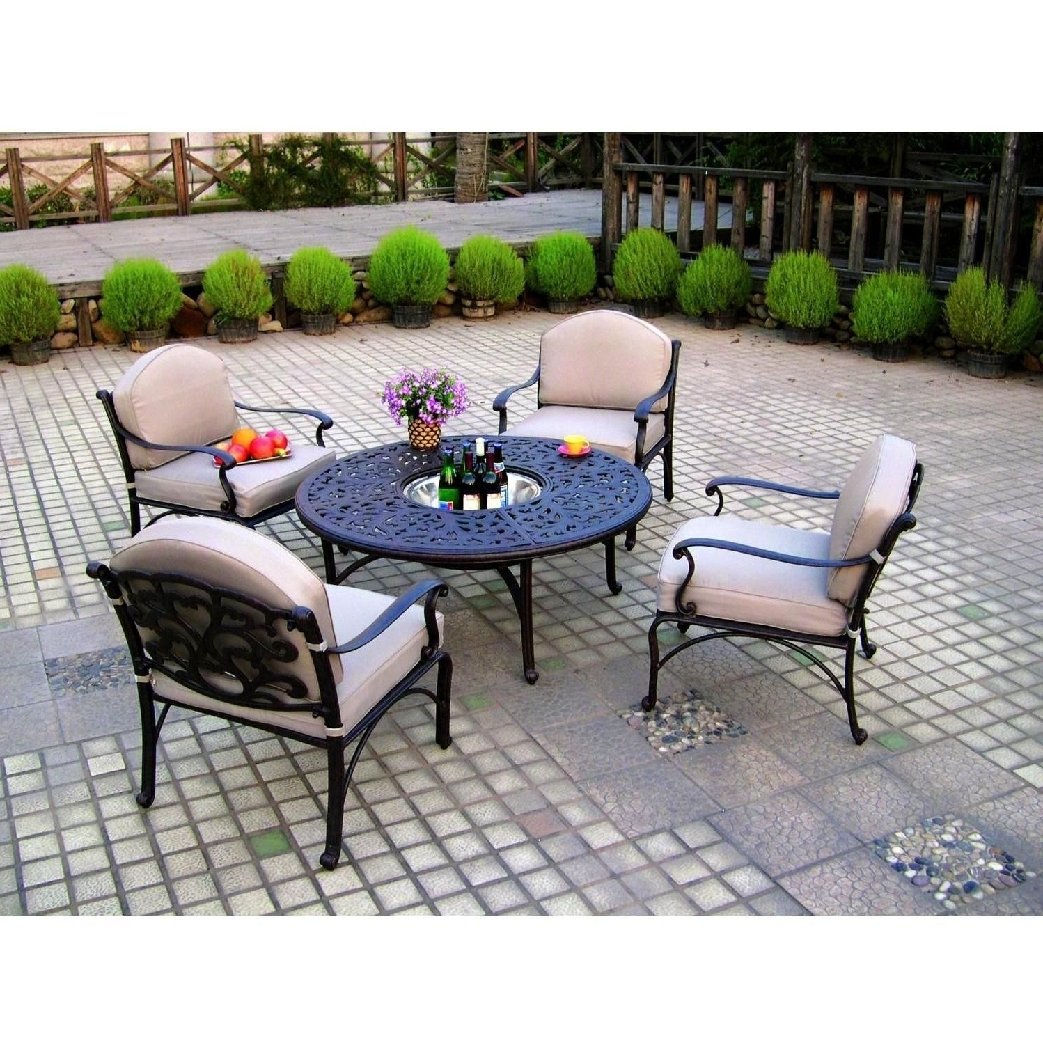Metal Patio Conversation Sets With Well Known Darlee Catalina 5 Piece Cast Aluminum Patio Conversation Seating Set (View 19 of 20)