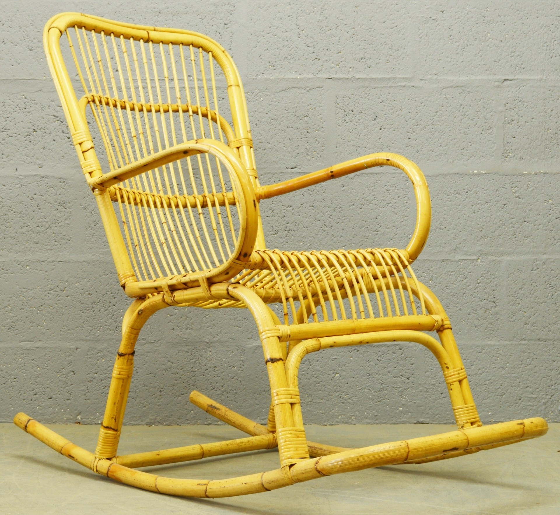 Mid Century Bamboo And Rattan Rocking Chair – 1960S – Design Market With Regard To 2018 Wicker Rocking Chair With Magazine Holder (View 13 of 20)