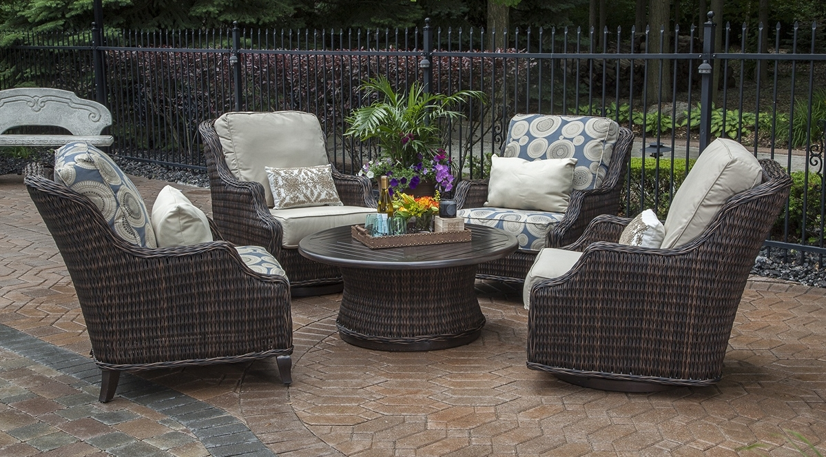 Mila Collection All Weather Wicker Patio Furniture Conversation Set With Well Known Patio Sectional Conversation Sets (View 18 of 20)