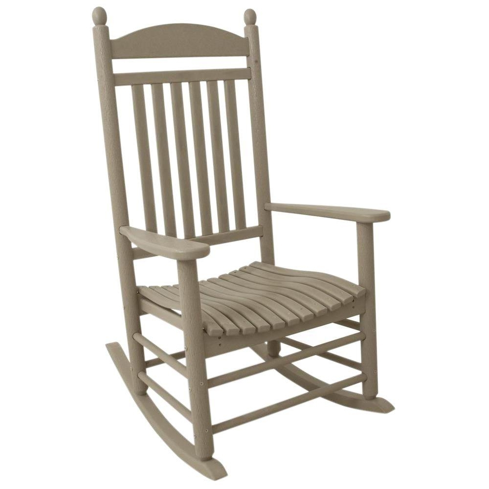 Modern Patio Rocking Chairs Intended For Well Known Polywood Jefferson Sand Patio Rocker J147Sa – The Home Depot (View 12 of 20)