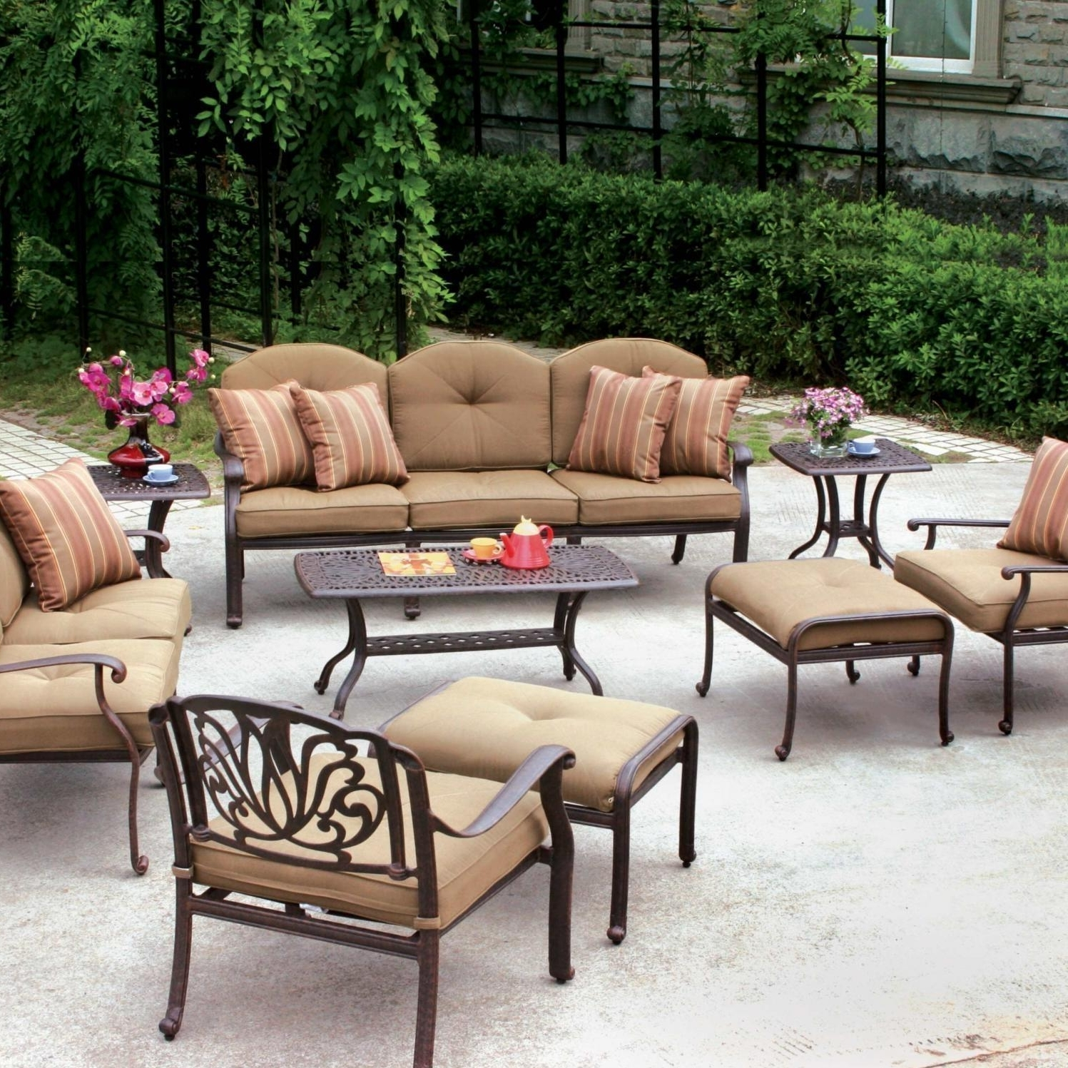 Most Current Aluminum Patio Conversation Sets Throughout Darlee Elisabeth 9 Piece Cast Aluminum Patio Conversation Set (View 11 of 20)