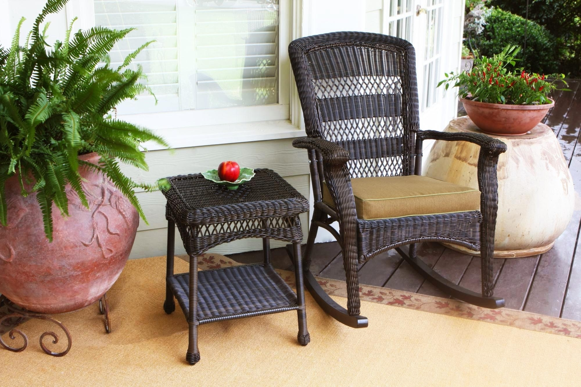 Most Current Brown Wicker Patio Rocking Chairs Throughout Furniture: Tortuga Outdoor Portside Rocking Chair In Dark Roast (View 8 of 20)