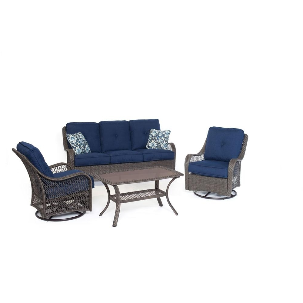 Most Current Cambridge Merritt 4 Piece All Weather Wicker Patio Conversation Set Pertaining To Blue Patio Conversation Sets (View 14 of 20)
